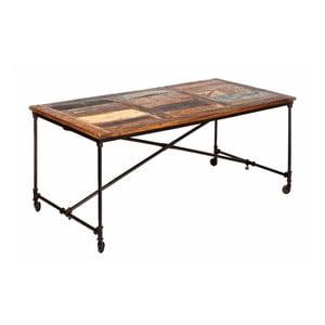 Masă dining din lemn masiv, pe roți, 13Casa Industry, lungime 180 cm
