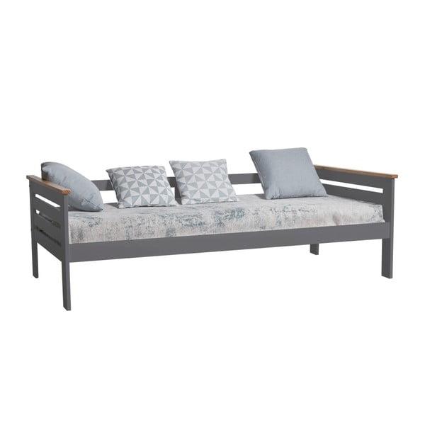 Antracytowoszare łóżko 1-osobowe z litego drewna sosnowego Marckeric Alba, 90x190 cm
