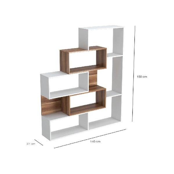 Bílá dřevěná knihovna s tmavě hnědými detaily Era, výška 150cm