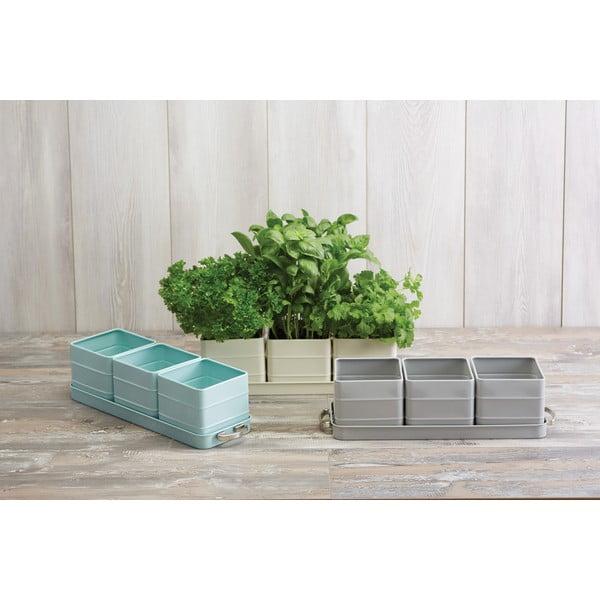 Sada 3 šedých květináčů na bylinky Kitchen Craft Living Nostalgia