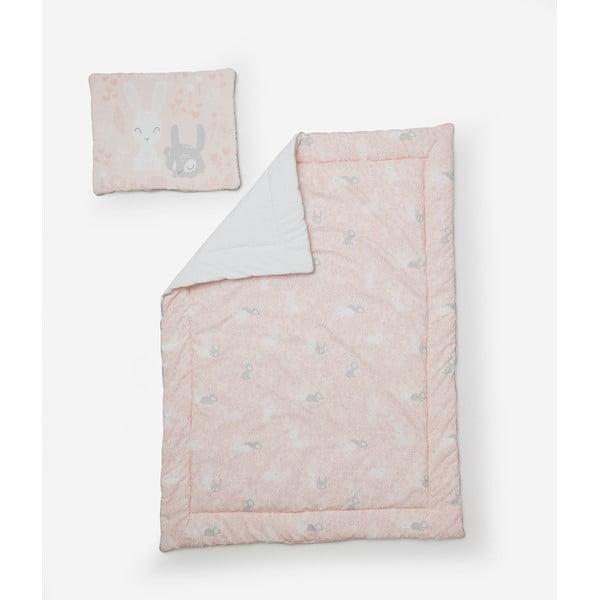 Happy Bunnies rózsaszín gyerekpaplan és gyerekpárna szett, 100 x 135 cm - Pinio