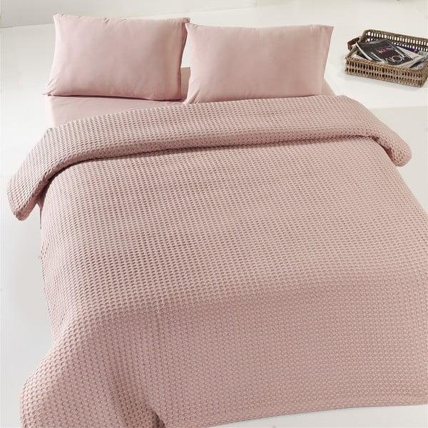 Béžovo-ružový ľahký bavlnený pléd cez dvojlôžko Dusty Rose Pique, 200×240 cm