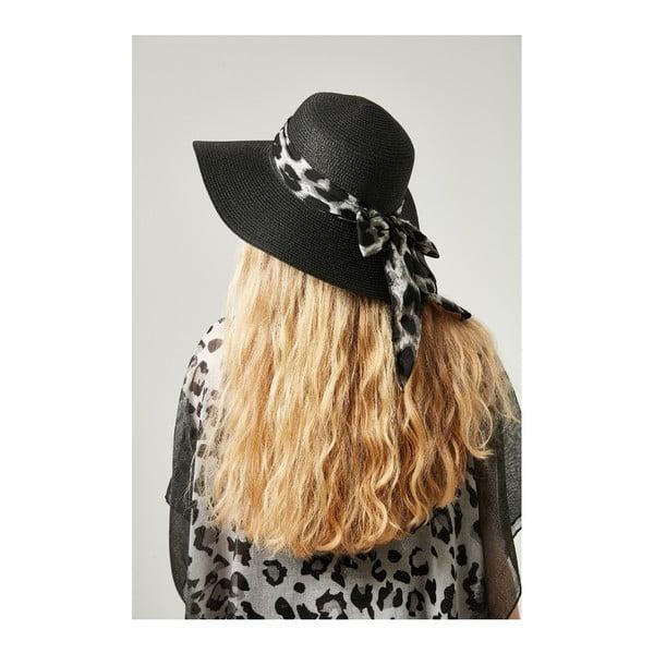 Čierny dámsky slamený klobouk se stuhou Alexander McKensey Leopard