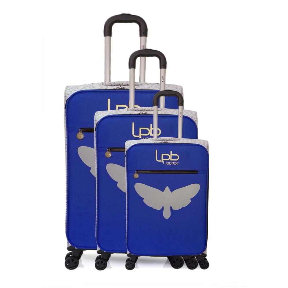 Sada 3 modrých skořepinových zavazadel na 4 kolečkách LPB Clara