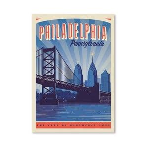 Plakát Americanflat Philly Skyline, 42 x 30 cm