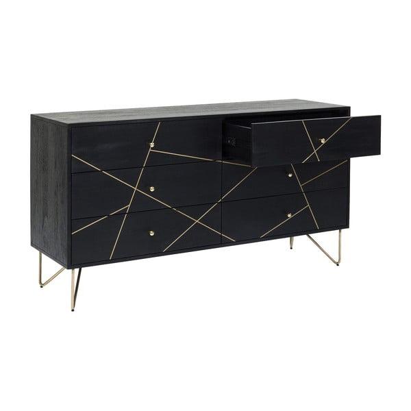 Černá komoda zmangového dřeva Kare Design Gold Vein, šířka 145cm