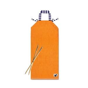 Oranžové plážové lehátko Origama Blue Stripes