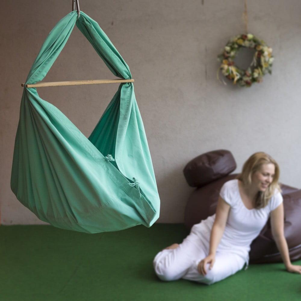 Mentolově zelená kolébka z bavlny se zavěšením do dveří Hojdavak Baby (0 až 9 měsíců)