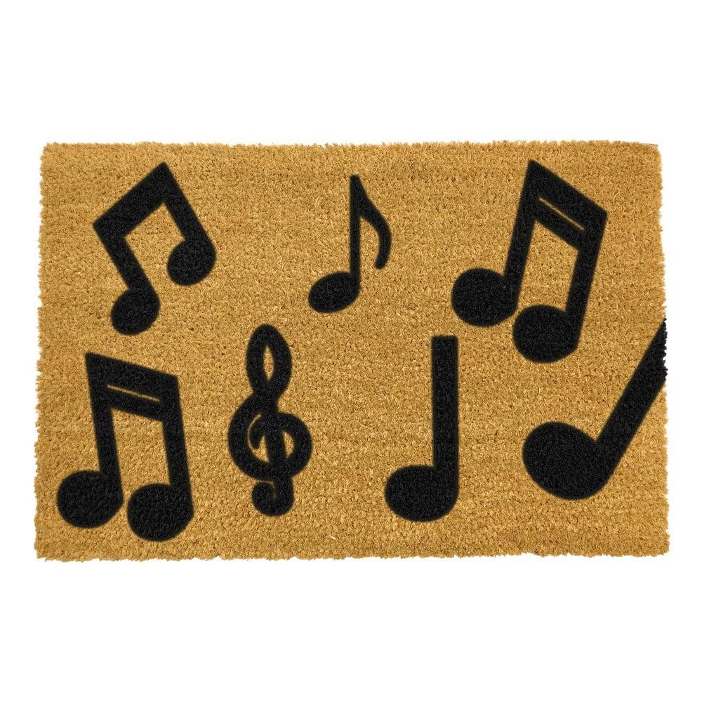 Rohožka z přírodního kokosového vlákna Artsy Doormats Music Notes,40x60cm