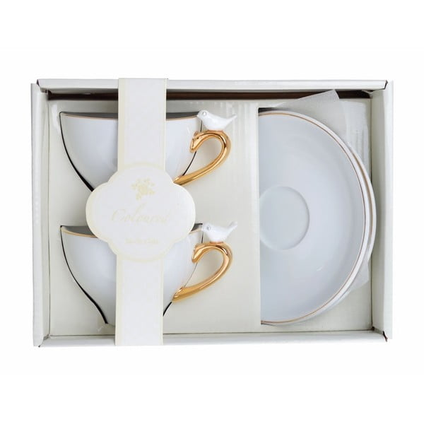 Porcelánové šálky na espresso s podšálky Ptáčci, 2 ks
