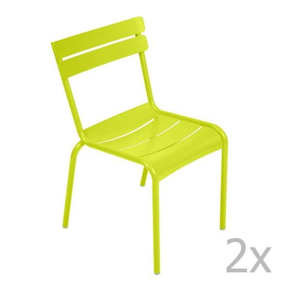 Sada 2 limetkově zelených židlí Fermob Luxembourg
