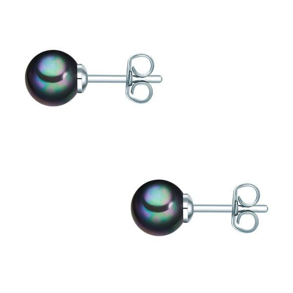 Náušnice s antracitově černou perlou Perldesse Muschel, ⌀6 mm