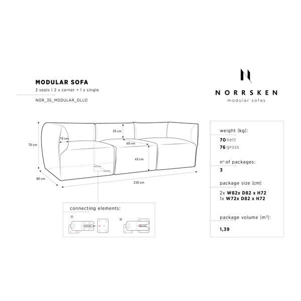 Béžová modulová třímístná pohovka Norrsken Ollo
