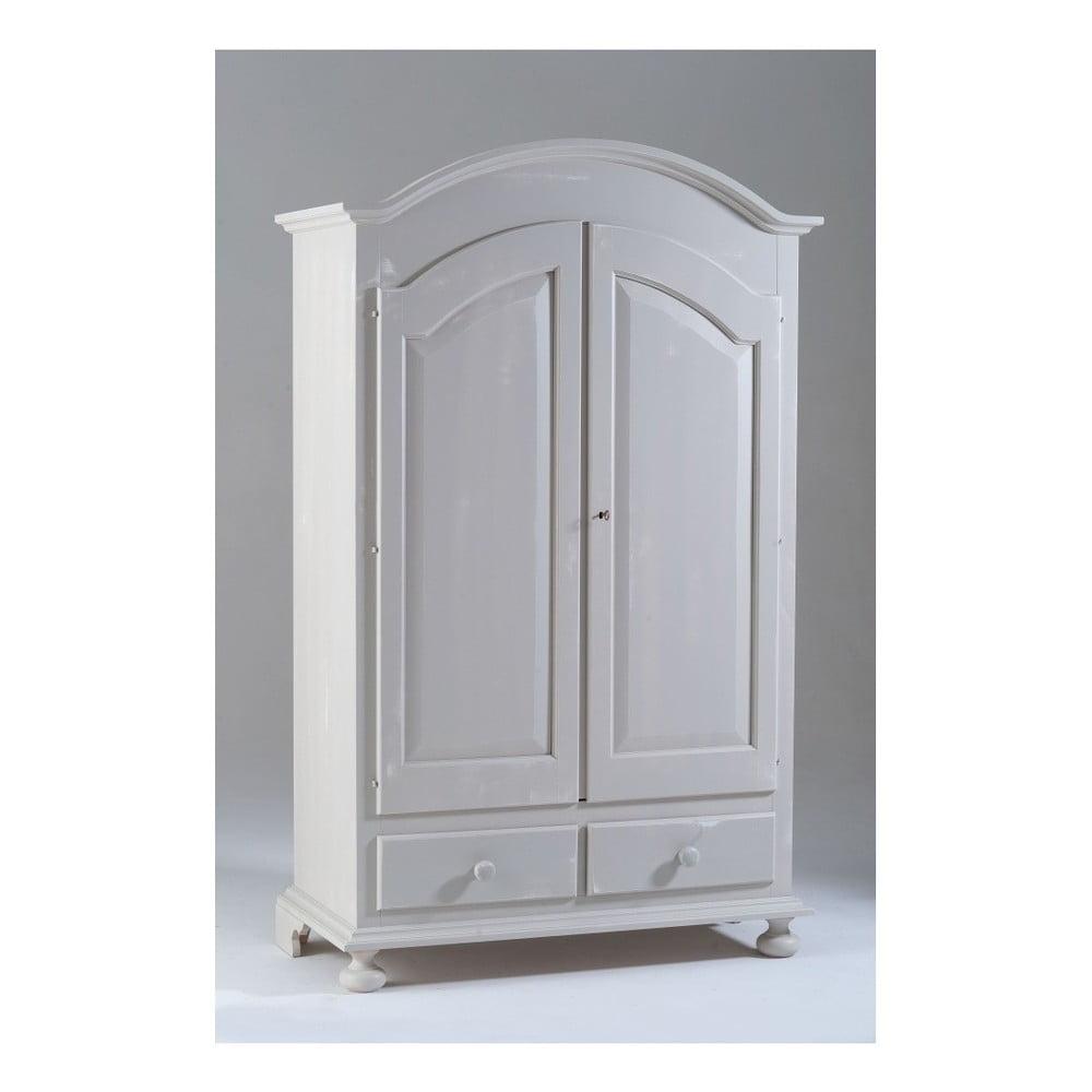 Bílá dvoudveřová dřevěná šatní skříň Castagnetti Nadine