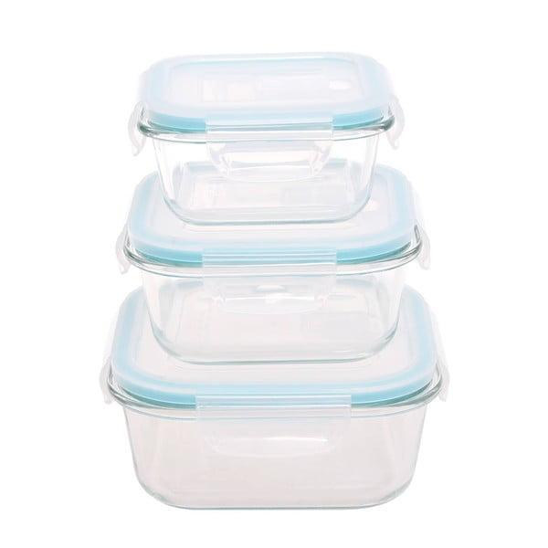 3 részes üveg dobozkészlet műanyag fedővel - Sabichi