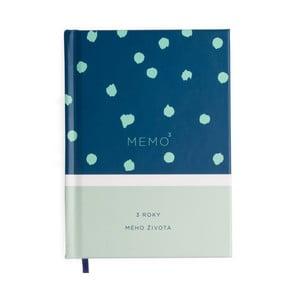 Mintově modrý záznamník se záložkou na tři roky Bloque.Memo3
