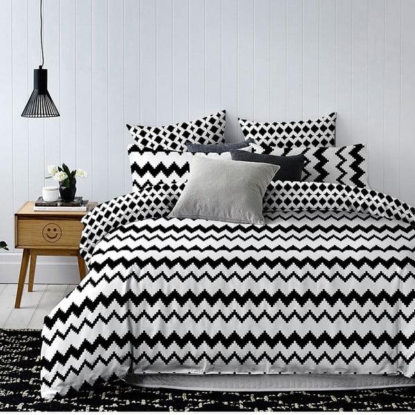 Lenjerie din microfibră cu 2 fețe pentru pat dublu DecoKing Hypnosis Waves, 220 x 200 cm, alb - negru