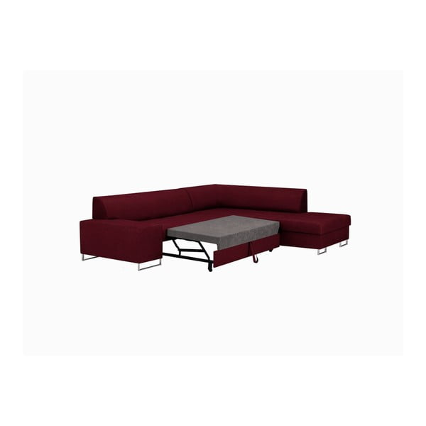 Červená rohová rozkládací pohovka s nohami ve stříbrné barvě Cosmopolitan Design Orlando, pravý roh