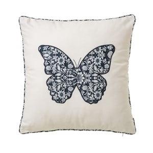 Bílý polštář z bavlny s motivem motýla Unimasa, 45 x 45 cm