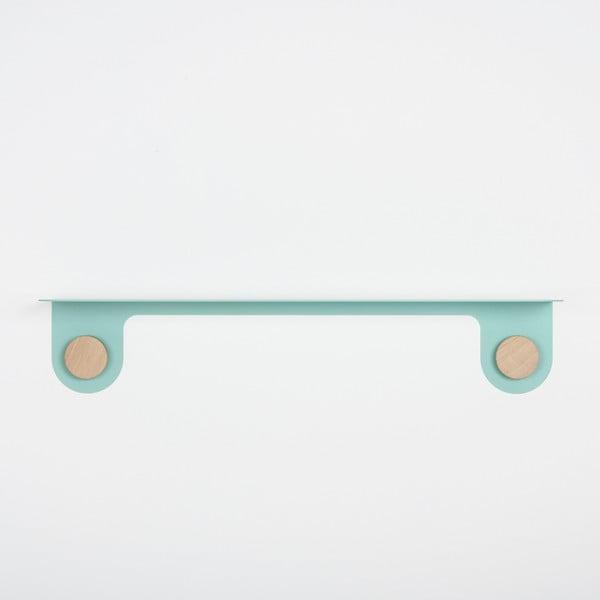 Nástěnná zelená police z oceli s detailem z dubového dřeva se 2 háčky Gazzda Hook, délka70cm