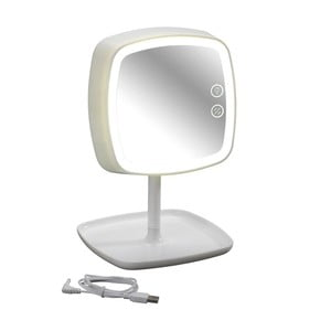 Bílé stolní zrcadlo a lampička s LED světlem Wenko OStia