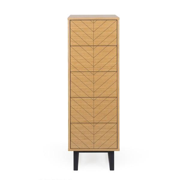 Comodă din lemn de measteacăn Woodman Mora Narrow Herringbone Print