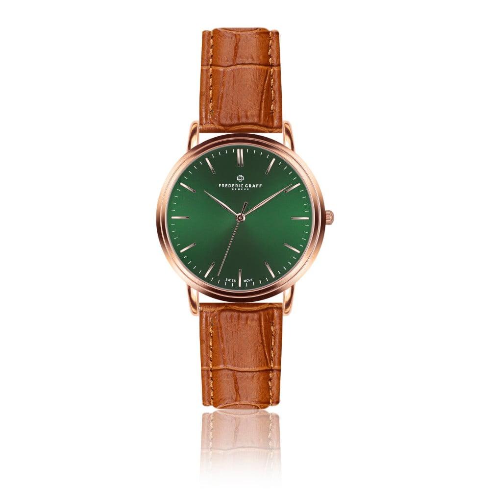 Pánské hodinky s koňakově hnědým páskem z pravé kůže Frederic Graff Rose Grunhorn Croco Ginger
