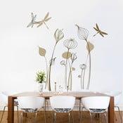 Samolepka na stěnu Vážky a rostliny, 60x90 cm