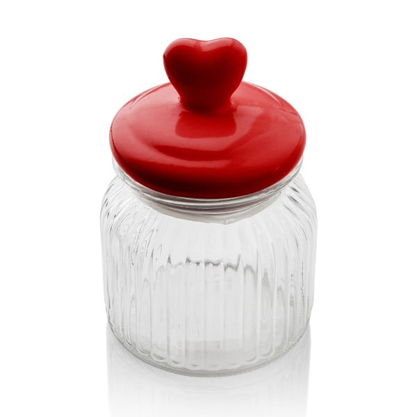 Recipient din sticlă cu capac Sabichi Heart, 600 ml