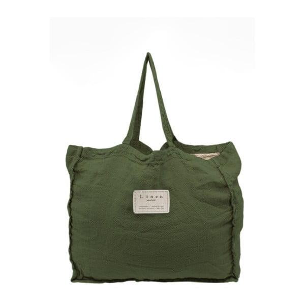 Geantă textilă Linen Green Moss, lățime 50 cm