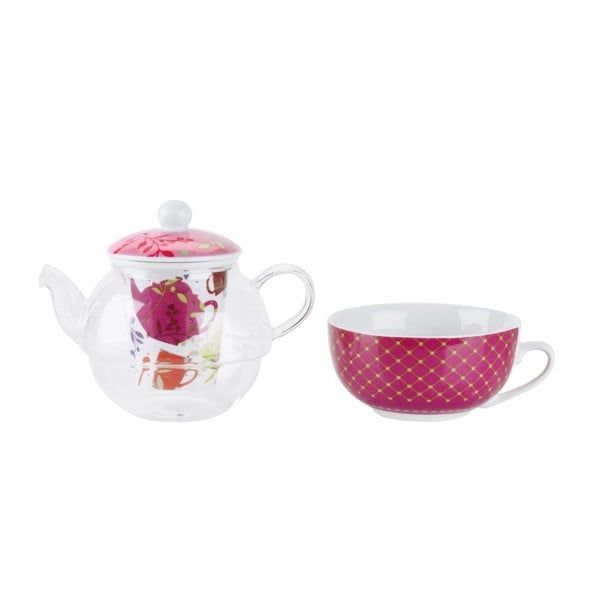 Čajový set Pink - konvička a hrnek