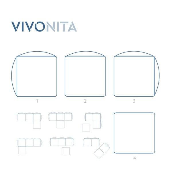 Námořnicky modrá třímístná modulová pohovka s podnožkou Vivonita Velvet Cube