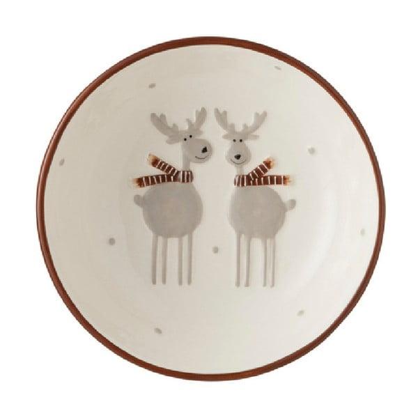 Keramická miska J-Line Reindeers, ⌀ 17cm