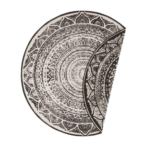 Covor adecvat pentru exterior Bougari Siruma, ø 200 cm, negru-crem