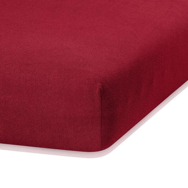 Ciemnoczerwone prześcieradło elastyczne z dużym dodatkiem bawełny AmeliaHome Ruby, 200x140-160 cm