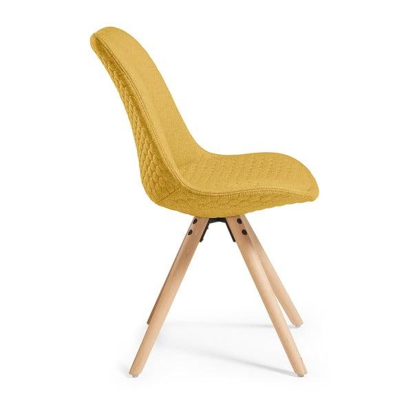 Sada 4 hořčicově žlutých jídelních židlí La Forma Lars