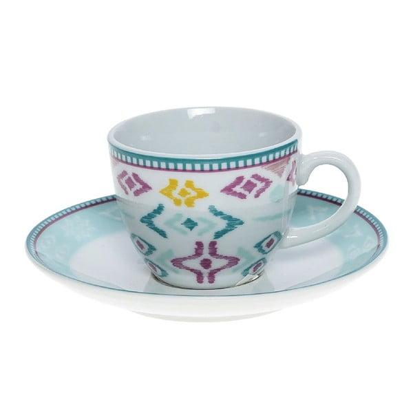 Set porcelánových hrnků a podšálků Mint, 6 ks (100 ml)