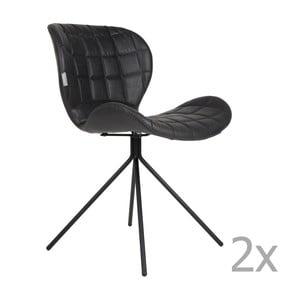 Sada 2 černých židlí Zuiver OMG LL