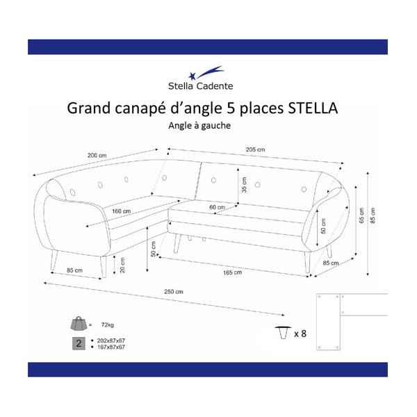 Tmavě žlutá rohová trojmístná pohovka Scandi by Stella Cadente Maison, levý roh