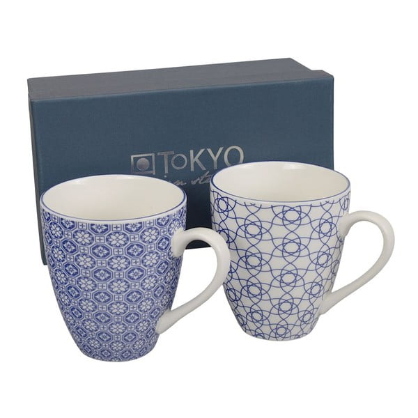 Set hrnků Nippon Blue Stripe & Flower, 2 ks