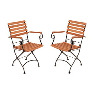 Set 2 scaune pliante de grădină din lemn de eucalipt ADDU Vienna