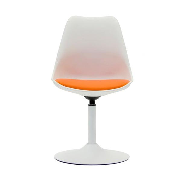 Scaun cu pernă portocalie Tenzo Viva, alb