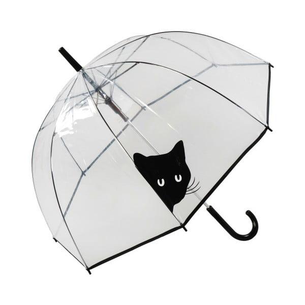 Przezroczysty parasol odporny na wiatr Ambiance Birdcage Peeking Cat, ⌀ 84 cm