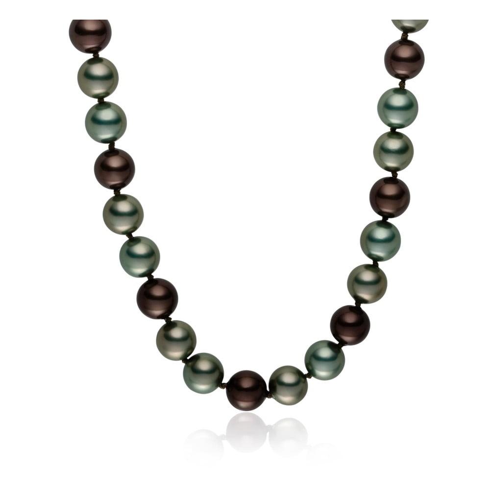 Šedozelený perlový náhrdelník Pearls Of London Mystic, délka 50 cm