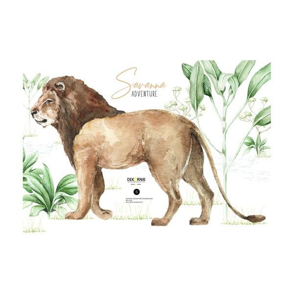 Nástěnná samolepka lva Dekornik, 100 x 70 cm