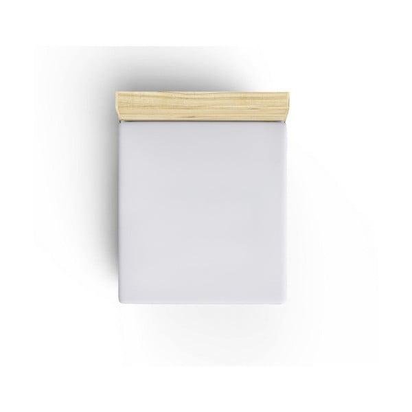 Bílé neelastické bavlněné prostěradlo na jednolůžko Caresso, 90 x 190 cm