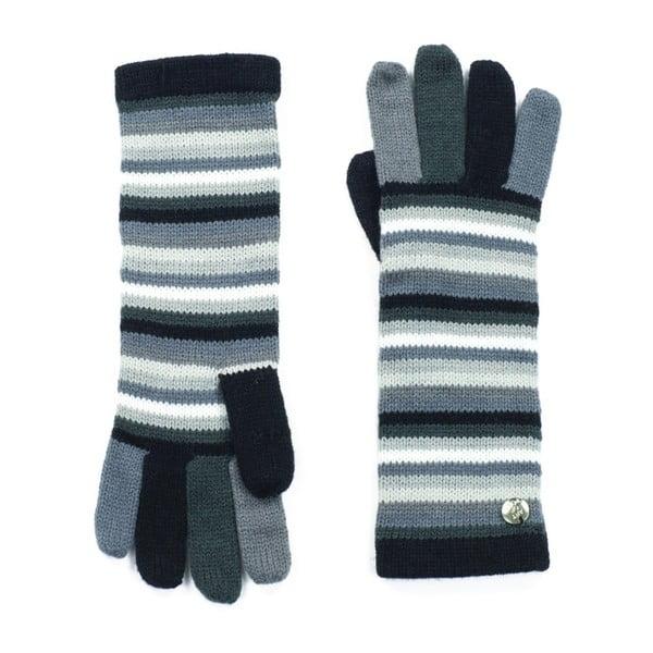 Šedé pruhované rukavice Bella