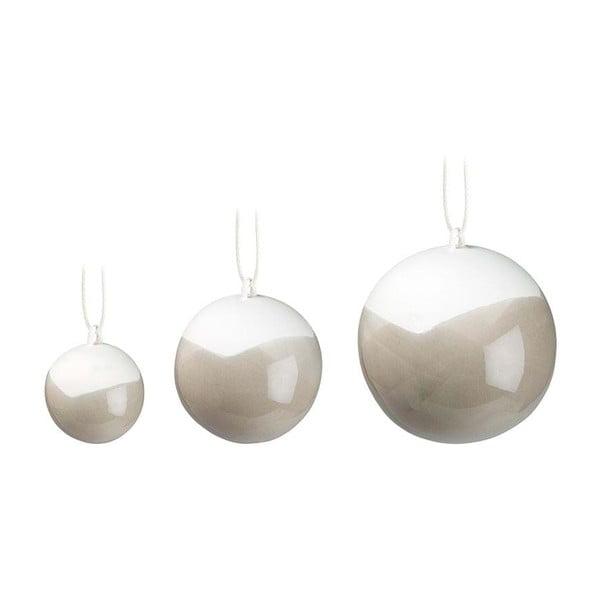Sada 3 šedých vánočních ozdob na stromeček z kostního porcelánu Kähler Design Nobili