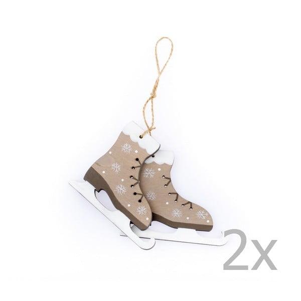 Set 2 decorațiuni suspendate pentru Crăciun în formă de patine Dakls Lilianne