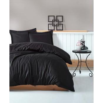 Lenjerie de pat cu husă de saltea Stripe, 200 x 220 cm, negru de la Cotton Box